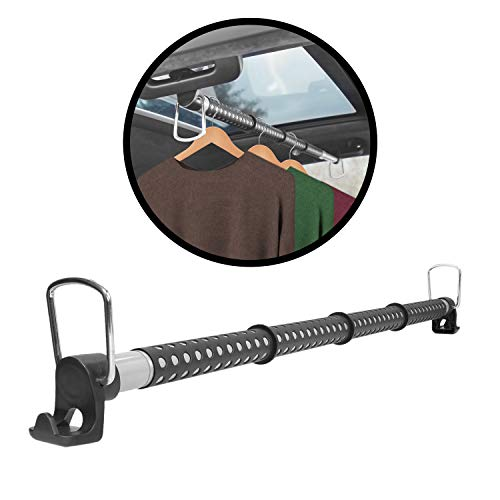 lebogner Car Clothes Hanger Bar, Expandable and Retractable Vehicle Clothing Rack for Traveling, Heavy Duty Garment Hanger, Car Clothing Rod Made with Strong Metal and Solid Rubber Grips and Spacers