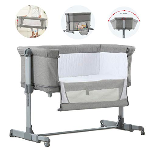 Best Review Of WLNKJ Portable Crib, Multifunctional Folding Baby Playcot Height Adjustable Splicable...