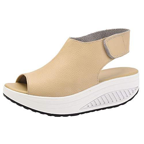 DAFENP Sandalias Plataforma Mujer Verano Sandalias Cuña Comodas Cuero Zapatos Tacon para Caminar (Beige, numeric_36)