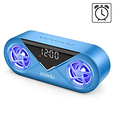 Bluetooth Wireless Speaker Water Proof with Lights Alarm Clock Hi-Fi Deep Bass Sound LED Portable Compact Bluetooth Speaker Support TF Card Aux in play for Outdoor Home Camping (Blue) from VENNERLI