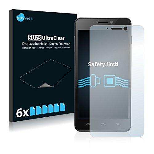 Savvies 6X Schutzfolie kompatibel mit Kazam Trooper 450L Bildschirmschutz-Folie Ultra-transparent