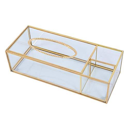 SLHEQING Kosmetiktücherboxen Gold Kosmetikorganiser Beauty Organizer Box Taschentuchbox Wohnzimmer Couchtisch Aufbewahrungsbox