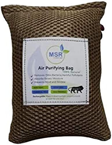 MSR Bamboo Charcoal Air Purifying Bag Nature Fresh Activated Charcoal for Rooms Home Car Pets Shoes Closets with Decorative Design Golden 200 Grams Pack of 1