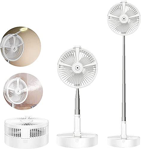 Faltbarer Tischventilator, Morwealth Standventilator Ventilator leise mit Akku ,Befeuchter,Nachtlicht, – flexibler Stand- und Tisch Ventilator - bis zu 1 m Höhe ausziehbar für Zimmer/Büro/Camping