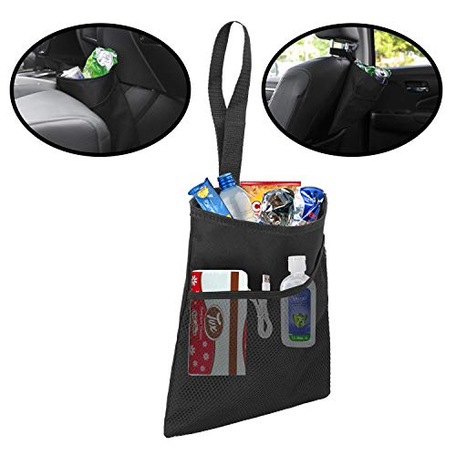 lebogner Car Trash Bag, Small Hanging GarbageCan with an Organizer Pocket and A 100% Leak Proof Lining, Removable Car Trash Organizer Perfect for Car Headrest, Door Handle Or Gear Shift