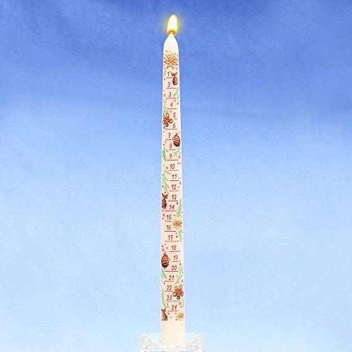 JEKA - Ebersbacher kaarsen adventskalender-puntige kaars met aftrekplaatje wit 2 x 2 x 29 cm