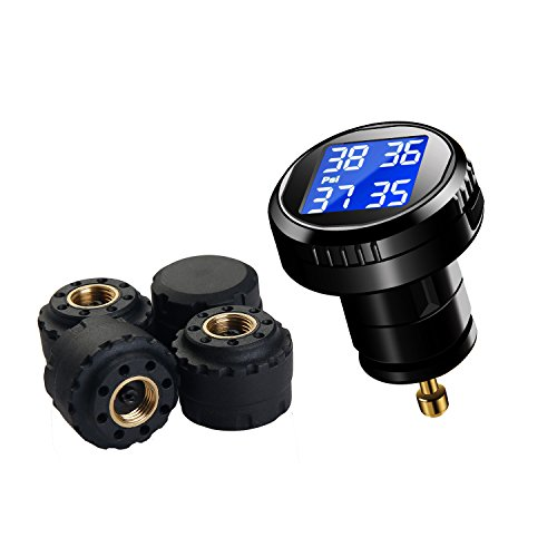 VESAFE Wireless Tire Pressure Monitoring System (TPMS), with 4 external cap sensors (0-87PSI)
