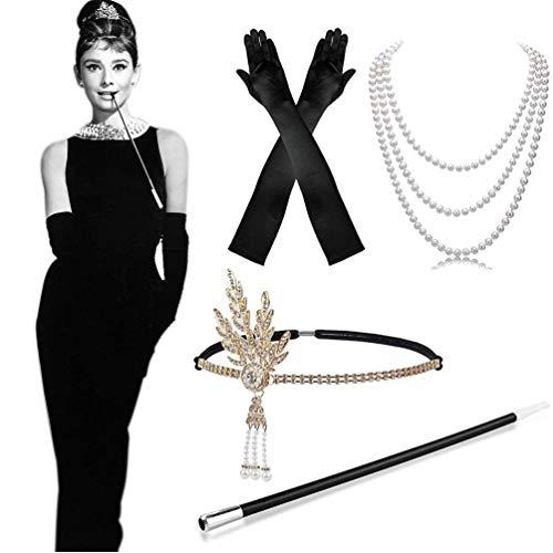 WENTS 1920er Kostüm Zubehör-Set 1920er Jahre Flapperkostüm Kleid Great Gatsby Zubehör Vintage Stirnband, Lange Schwarze Satin-Handschuhe, Perlenkette, Langer Zigarettenhalter für Frauen, Damen