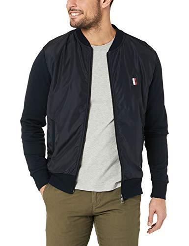 Tommy Hilfiger Herren Mixed Media Bomber Sweatshirt, Blau (Sky Captain 403), Large (Herstellergröße:L)