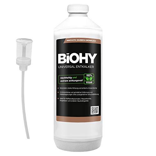 BIOHY universele vloeibare ontkalker 1 liter fles + doseerder, concentraat voor ca. 20 ontkalkingsprocessen | Compatibel met alle volautomatische koffiemachines, espresso- en koffiezetapparaten, zoals DelonGHI, Saeco, Philips.