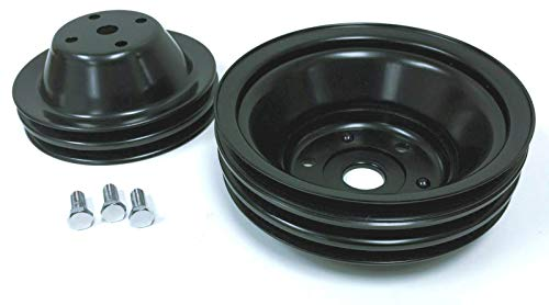 Pirate Mfg SBC Long Water Pump Black Steel Double/Triple Groove Pulley Kit 283-350 V8