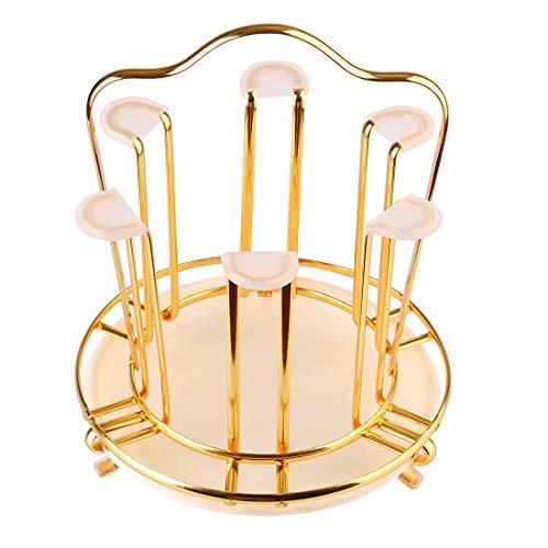 ColiCor - Soporte para tazas, organizador circular, secador de vidrio, para botellas, botellas, vasos, copas de vino y accesorios, color dorado