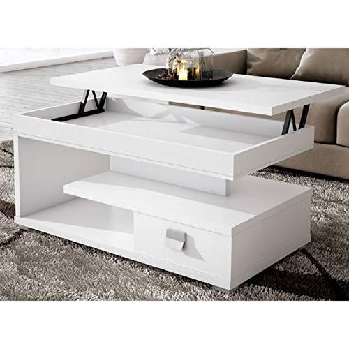 Muebles Baratos Mesa de Centro elevable, Elige Modelo Y Color, ref-19 (Blanca un Cajon)