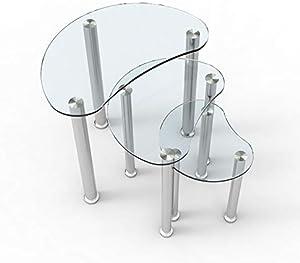 mecor Lot de 3 Tables gigognes 6 mm Plateau en Verre Clair avec Pieds chromés - Table Basse