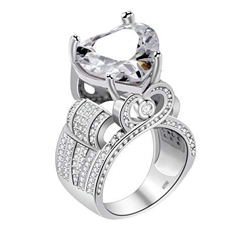 Uloveido Color Plata en Forma de corazón Enorme Diamante simulado Anillos de Compromiso de Boda graduación Regalos de cumpleaños para niñas (Talla 19) Y429