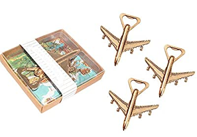 Pack of 24 Airplane Bottle Opener with Gift Box Baby Shower Return Gifts for Guest Air Plane Travel Beer Bottle Opener Party Favor Wedding Birthday Decorations (24pcs with Gift Box)