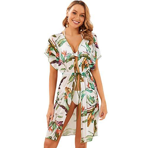 Pareo de Bikini para Mujer hasta Rodillas Cover Up para Playa Estampado Cebra Bata Manga Corta Kimono de Mujer para Verano Vacaciones (Hojas, Talla única)