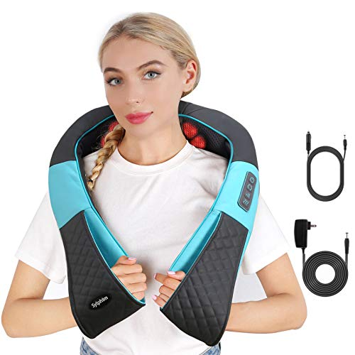 Shiatsu Neck Back Shoulder Massager - Electric Neck and Back Massager with Heat, Deep Tissue 3D Kneading Massage Pillow for Shoulder, Leg, Body Muscle Pain Relief, Home, Office, and Car Use-Blue