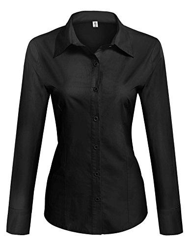 Unibelle DamenBlusetaillierteHemdbluseLangarm - elegant Damenhemd mit Einfarbig (Schwarz,M)
