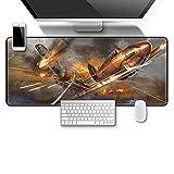 JXSFRH Alfombrilla de ratón para Juegos Avión de Guerra de artillería Alfombrilla de ratón 260x210x2mm Base de Goma Antideslizante, Superficie Impermeable Adecuada para Jugadores, PC y portátil