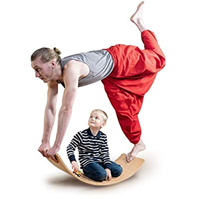 """Wooden Balance Board for Adults and Kids, Large 36"""" Wobble Board, Montessori Curvy Board, Natural Wood Rocker Board, Used for Yoga and Physical Therapy, Open Ended Learning, Yoga Board for Adults"""