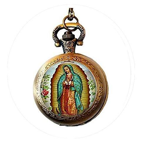 Our Lady of Guadalupe Schlüsselanhänger, Jungfrau Maria, religiöse, katholische Kunst, Taschenuhr-Halskette, Charm, Bibel-Zitat Anhänger