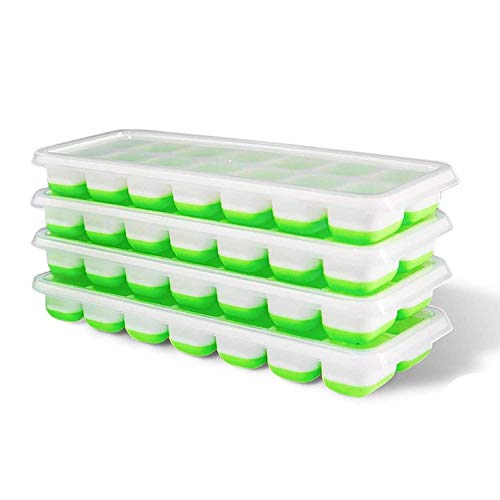 Just QT Ice Cube Trays with lid, Set of 4, Spill-Resistant ice Moulds, Freezer Soft Base Easy Release for Your Favourite Drink - LFGB Certified, BPA Free ice Cube Tray