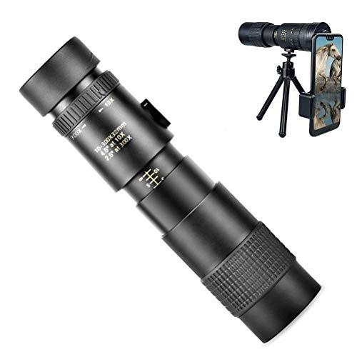 Volking Telescopio astronómico, telescopio con Zoom de 10-300X40 mm con trípode de Aluminio y Adaptador de teléfono Inteligente para Adultos, niños y Principiantes