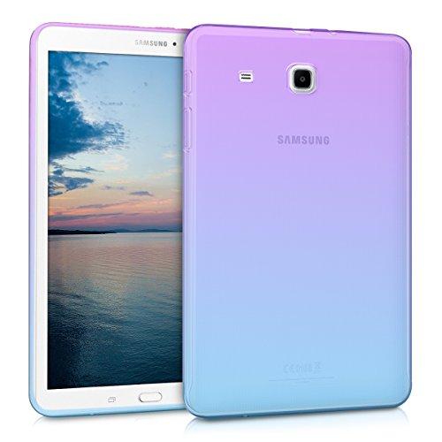 kwmobile Cover Compatibile con Samsung Galaxy Tab E 9.6 T560 / T561 - Custodia Tablet in Silicone TPU - Copertina Protettiva Tab - Backcover - 2 Colori Viola/Blu/Trasparente