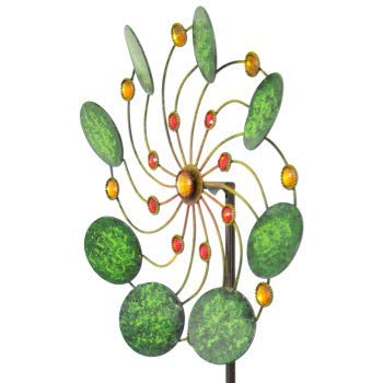 CIM Metall Windrad – Exotic Flower Samoa – Wetterfest – mit Kugellager – leichtgängig drehend – Ø34cm, Gesamthöhe: 122cm – inkl. 3-teiligem Standstab - 2