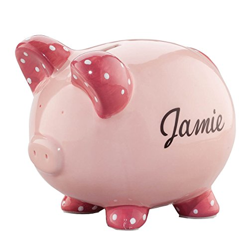 Personalized Ceramic Kids Piggy Bank by Miles Kimball - Pink