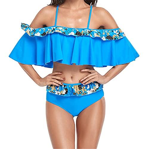 Mujer Traje de Baño Dos Piezas Conjunto de Bikini, Spaghetti de mujer correa de hombro con volante volante Fluje 2 piezas Traje de baño Impresiones florales Traje de baño Top + Bikini inferior conjunt