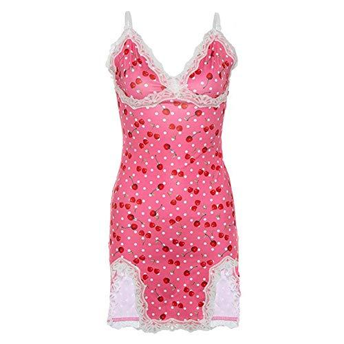 Las mujeres atan for arriba el vestido atractivo de la impresión del punto de cereza deslizamiento raja linda niña vestidos de color rosa sin mangas del bodycon con cuello en V femme ropa corta de las