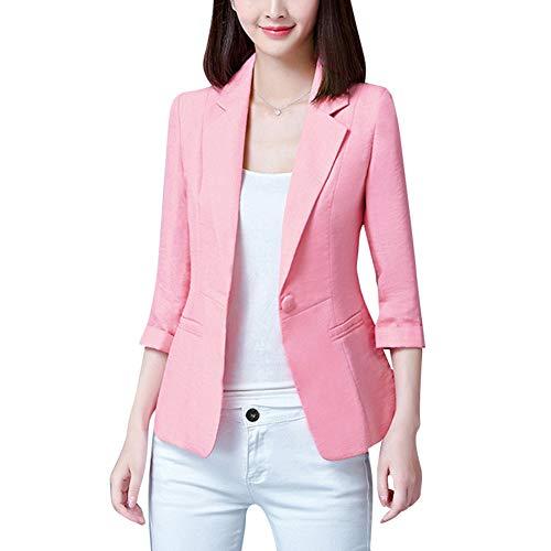 Mujer Blazer Slim Fit 3/4 Mangas Elegante Superior Oficina Traje de Chaqueta Outwear Casual Rosado XS