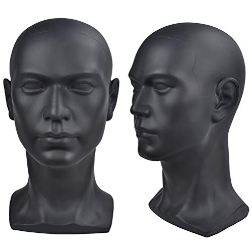 Ba Sha Cabeza de maniquí masculino profesional negro brillante para auriculares de pantalla, auriculares, consola de juegos, sombreros, pelucas de joyería