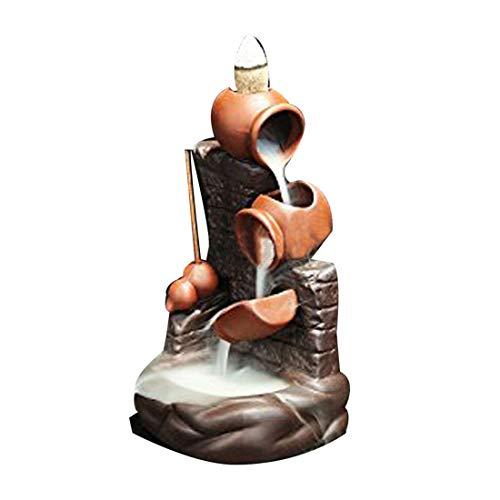 Brenner im Kalebassendesign für Rückfluss-Räucherkegel, mit 10 Rückfluss-Räucherkegeln, Brenner aus Keramik, Rückfluss-Räucherkegelhalter