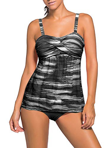 Actloe Women's Two Pieces Swimwear Ruched Tankini Top with Triangle Bottoms Color Block Tie Dye Swimsuit Black Medium