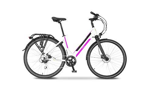 Argento Bicicletta elettrica Omega città bianca e rosa, Unisex adulto, taglia unica
