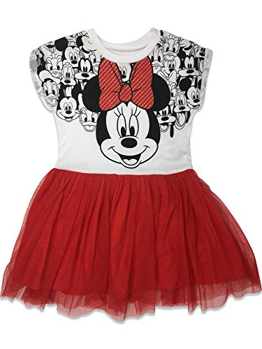 Disney Toddler Girls' Minnie Mouse Tulle Dress, White/Red (2T)