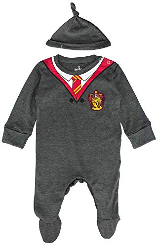 Licensed Harry Potter Baby Romper Baby Grow with Hat Gryffindor for Boy or Girl (3-6 Months) Charcoal