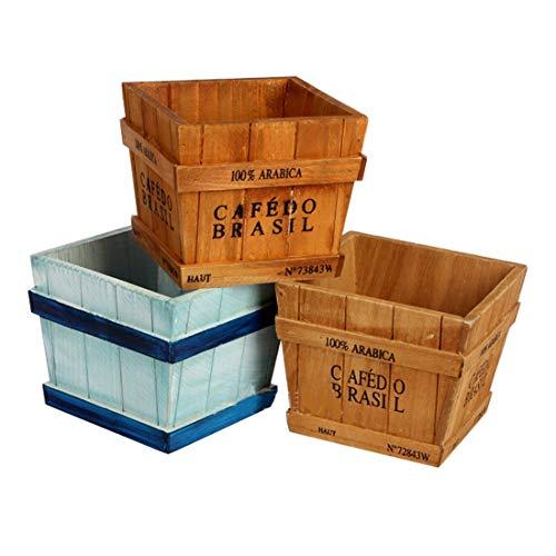 Luoshan 2PCS Scatola di immagazzinaggio in Legno retrò Vasi da Fiori Multi-Carne for Piante, Consegna Casuale a Colori
