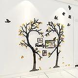 3D Pegatinas de Pared Pegatinas Acrílico Mural Árbol en Forma de Corazón Flying bird Sticker Art Fondo Pegatina para Salón,Dormitorio,Oficina,Habitación Pegatinas Pared Con Marco de Fotos