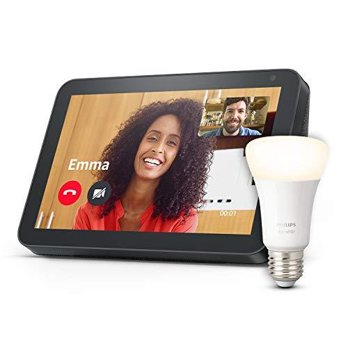 Echo Show 8, Tissu anthracite + Philips Hue Ampoule Connectée White (E27), compatible avec Bluetooth et Zigbee (aucun hub requis)