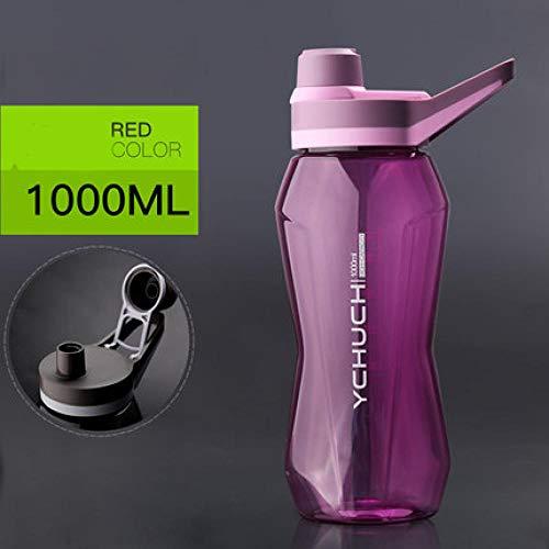 xuanyanhu 1L Deporte al Aire Libre Botella de Agua de plástico portátil Frasco Bebidas de Regalo Botella de Cola con Mango para Gimnasio Fitness Senderismo Viajar Ciclismo