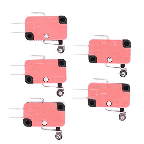 Katigan 5 x SPDT NO NC V-155-1C25 interruptor de limite de control de palanca de conmutacion de corto rodillo de bisagra