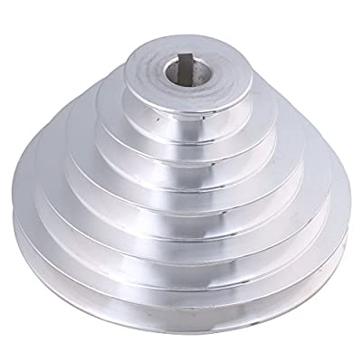 CNBTR 19mm Bore 54mm-150mm Outter Dia Aluminum 5 Slot A Type V-Shaped Pagoda Pulley 5 Step Pulley Belt 12.7mm Belt Width