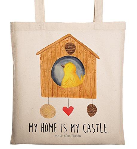 Mr. & Mrs. Panda Jutebeutel, Einkaufstasche, Tragetasche Vogelhaus mit Spruch - Farbe Transparent