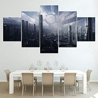 SHUII Citadel Mass Effect 5 Piece Wallpapers Modern Modular Poster Art Canvas Painting for Living Room Home Decor Framed 30x40cm 30x60cm 30x80cm