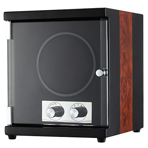 CHIYODA Single Watch Winder with Quiet Motor-12 Rotation Modes(Black and Camphor Wood Splicing)