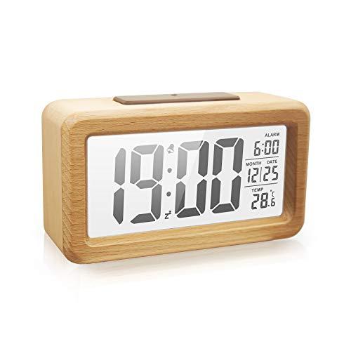 Vihimi Digitaler Wecker aus Holz,Smart Sensor Nachtlicht mit Snooze,Datum, Temperatur, 12 / 24h umschaltbar, Massivholz Schale, Batteriebetrieben(Hellbraun)